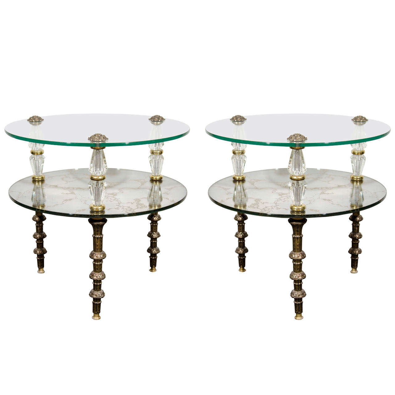 A Pair Of Goran Églomisé Hollywood Regency Side Tables At