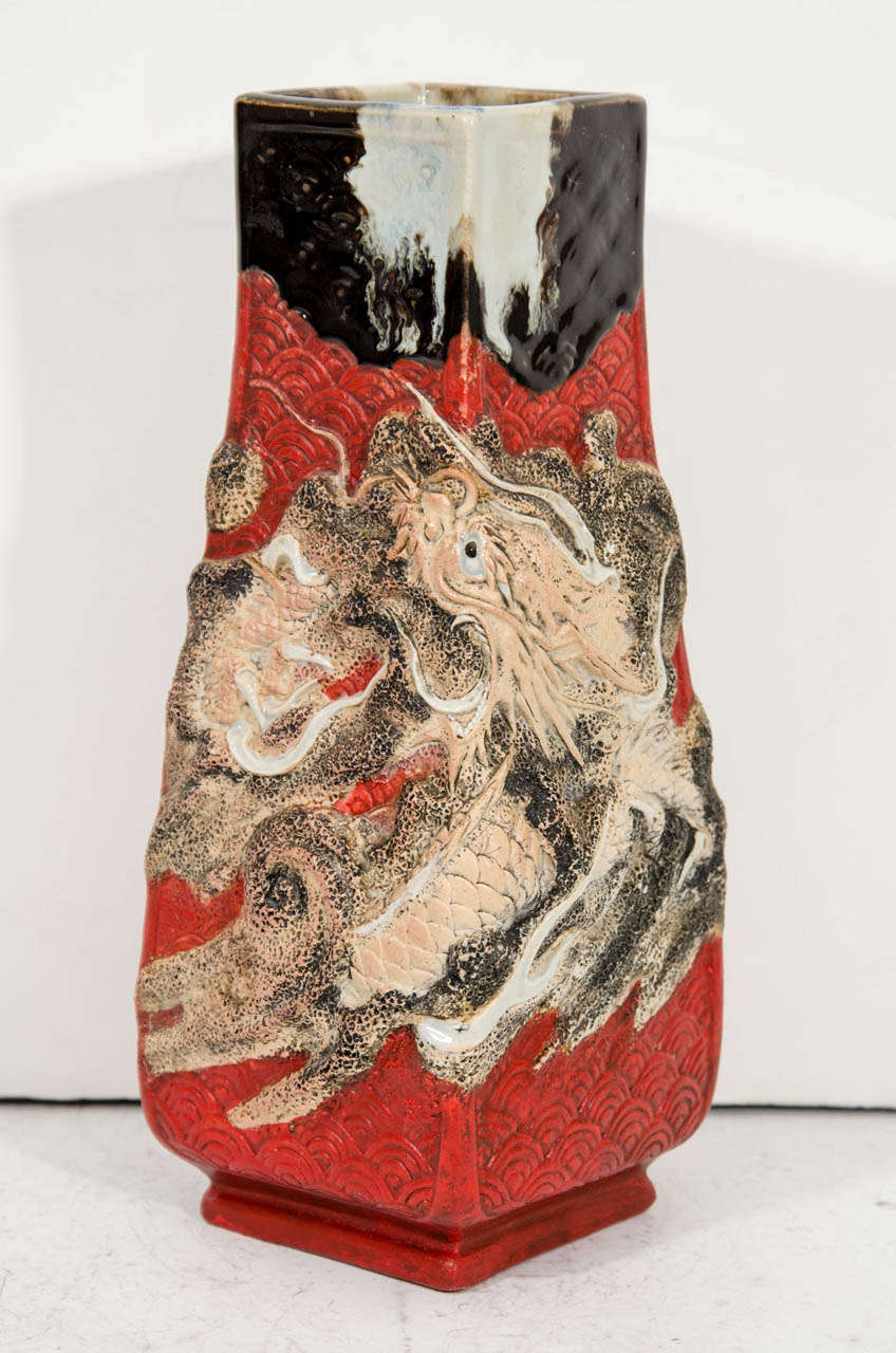 A vintage ceramic japanese vase with raised dragon for sale at 1stdibs a vintage ceramic japanese vase with raised dragon in good condition for sale in new york reviewsmspy