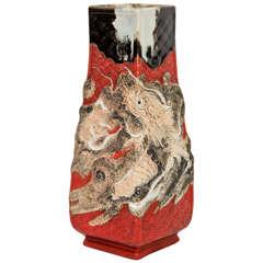 A Vintage Ceramic Japanese Vase with Raised Dragon