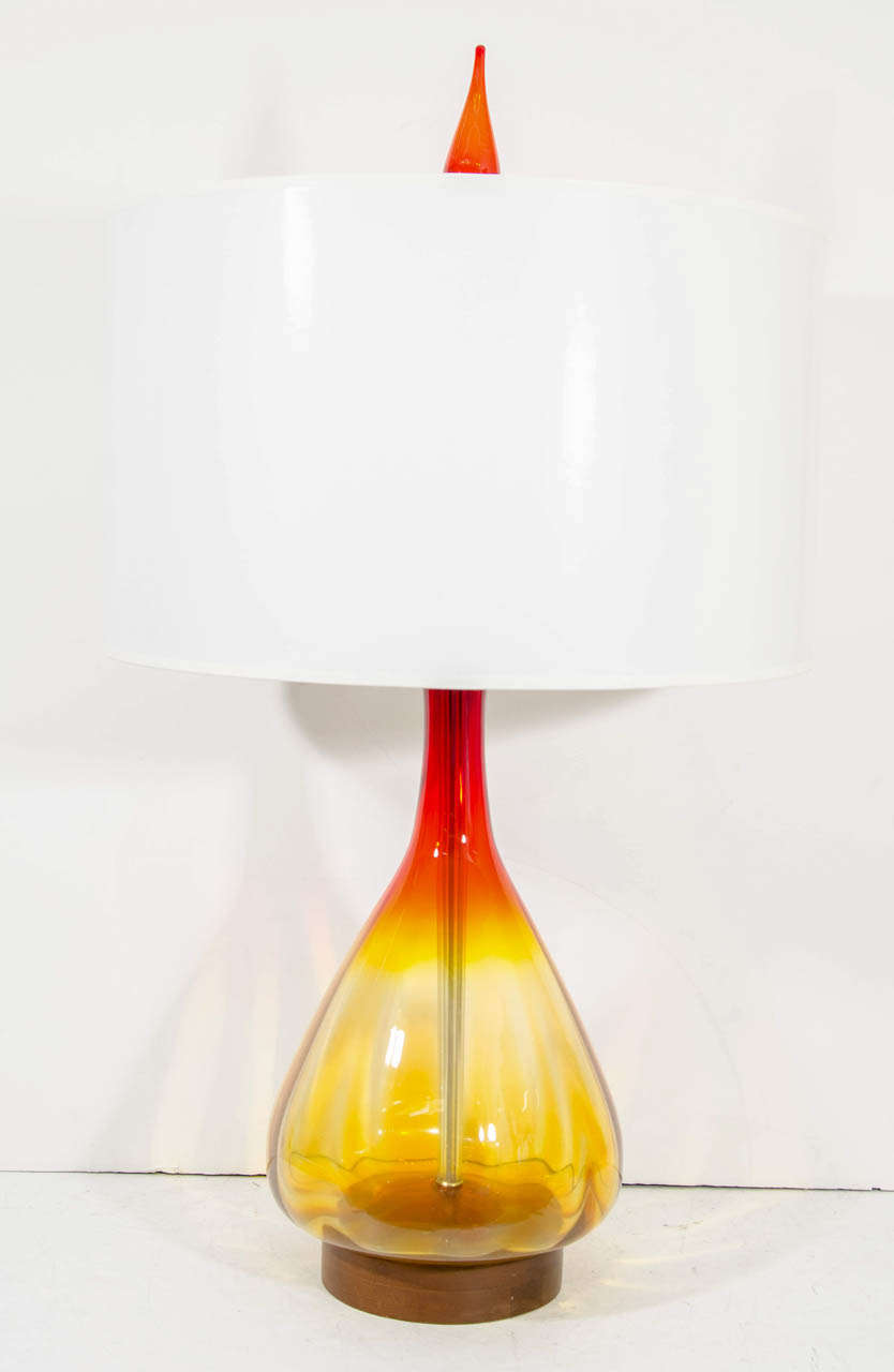 A Mid Century Large Orange and Amber Blenko Lamp 2
