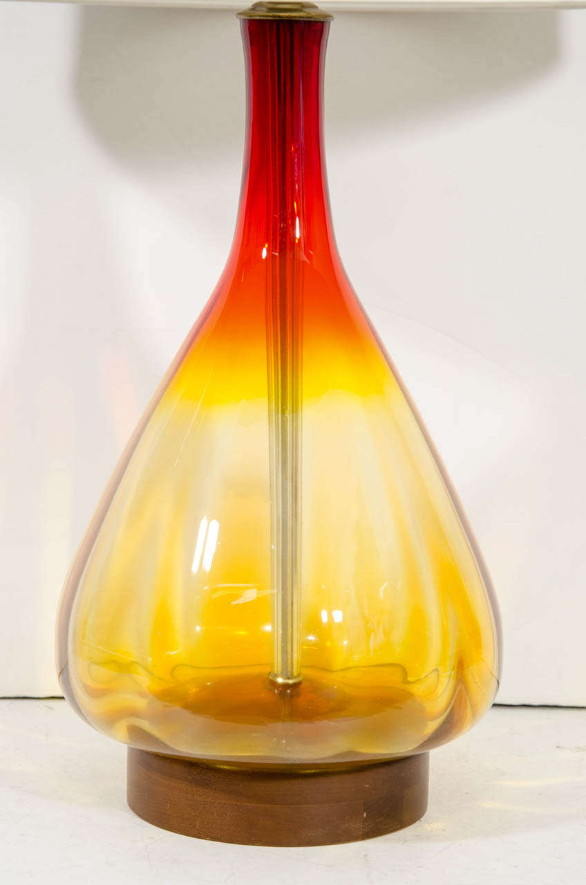 A Mid Century Large Orange and Amber Blenko Lamp 3