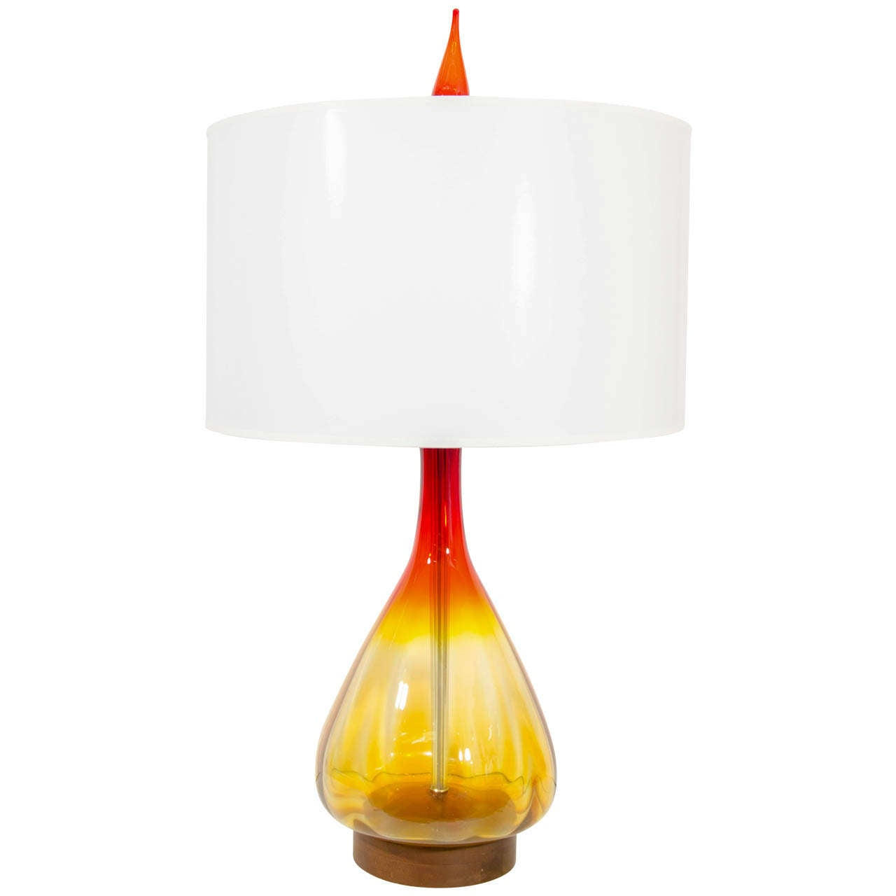 A Mid Century Large Orange and Amber Blenko Lamp