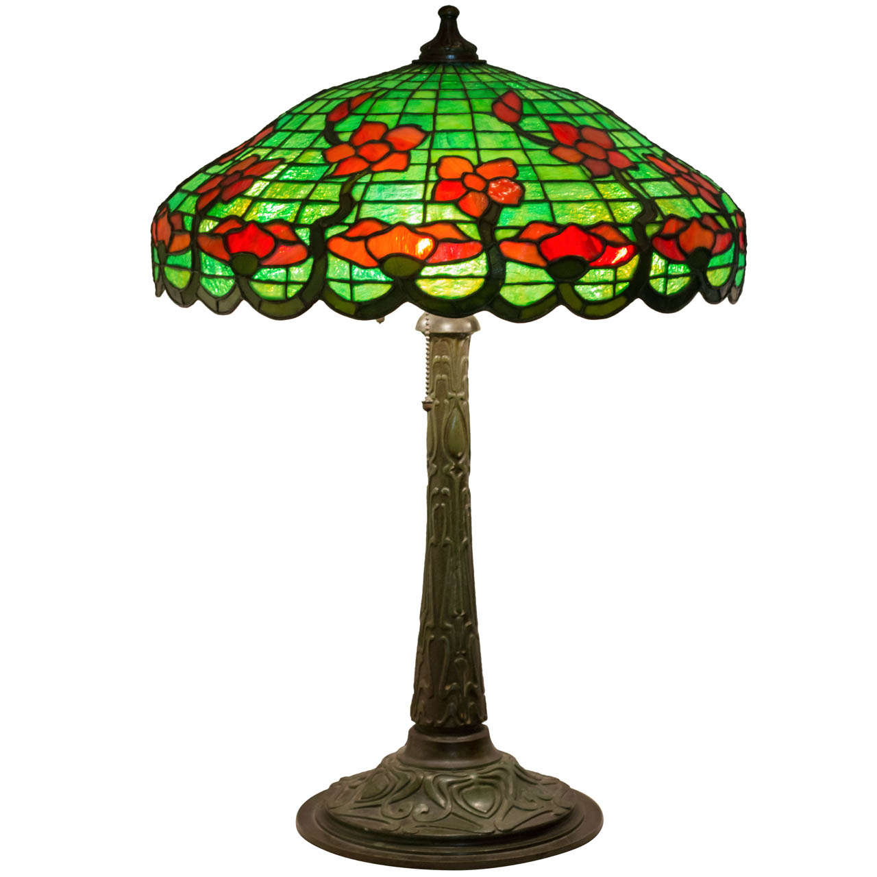 Leaded glass table lamp by gorham at 1stdibs leaded glass table lamp by gorham for sale aloadofball Image collections