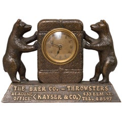 Amusing Figural Advertising Bronze Clock with Bears