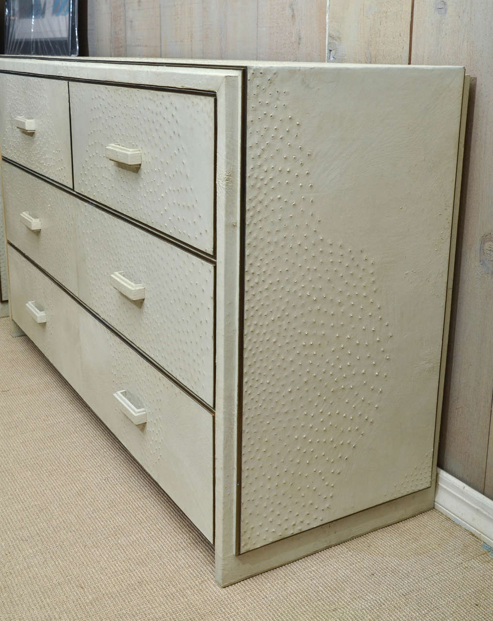 attractive natural ostrich four drawer commode at 1stdibs. Black Bedroom Furniture Sets. Home Design Ideas