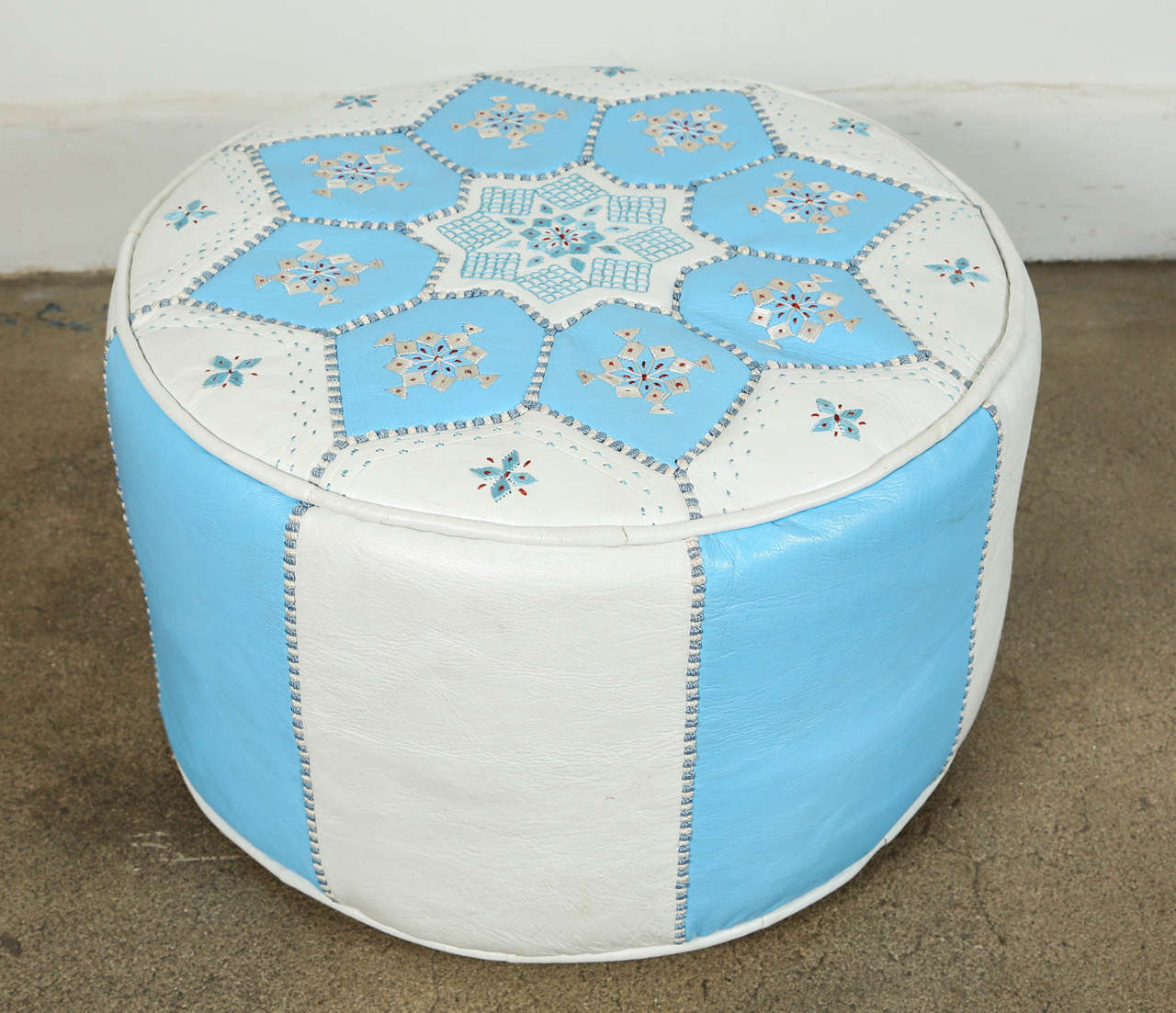 Bohemian Moroccan Hand-Tooled Leather Poufs in Tiffany Blue and White
