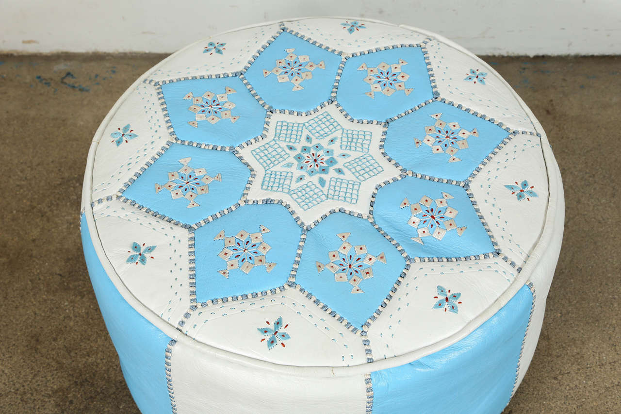 Hand-Crafted Moroccan Hand-Tooled Leather Poufs in Tiffany Blue and White