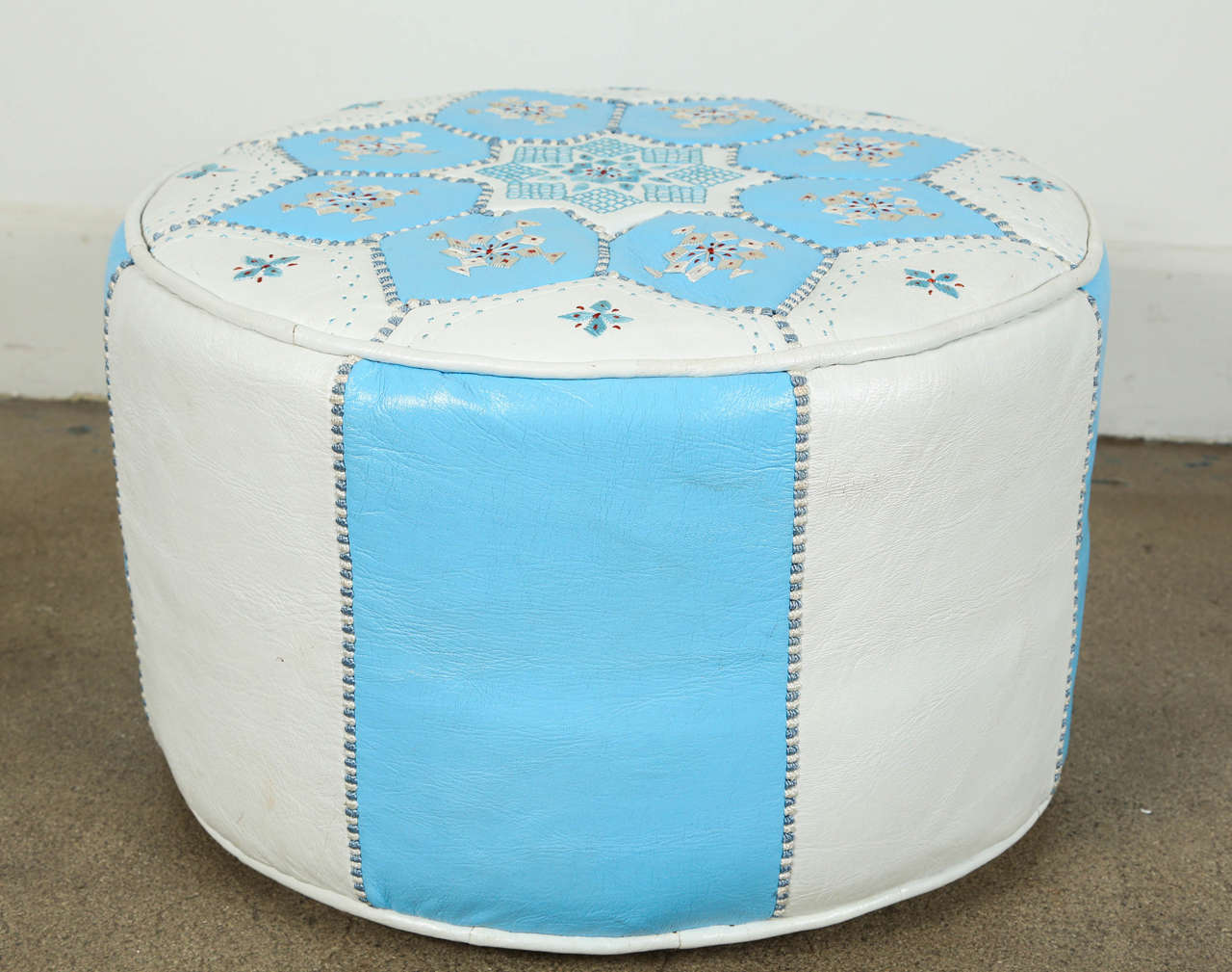 Moroccan Hand-Tooled Leather Poufs in Tiffany Blue and White  In Good Condition In North Hollywood, CA