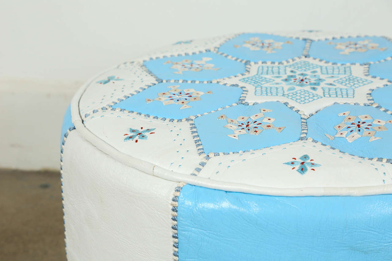 Contemporary Moroccan Hand-Tooled Leather Poufs in Tiffany Blue and White