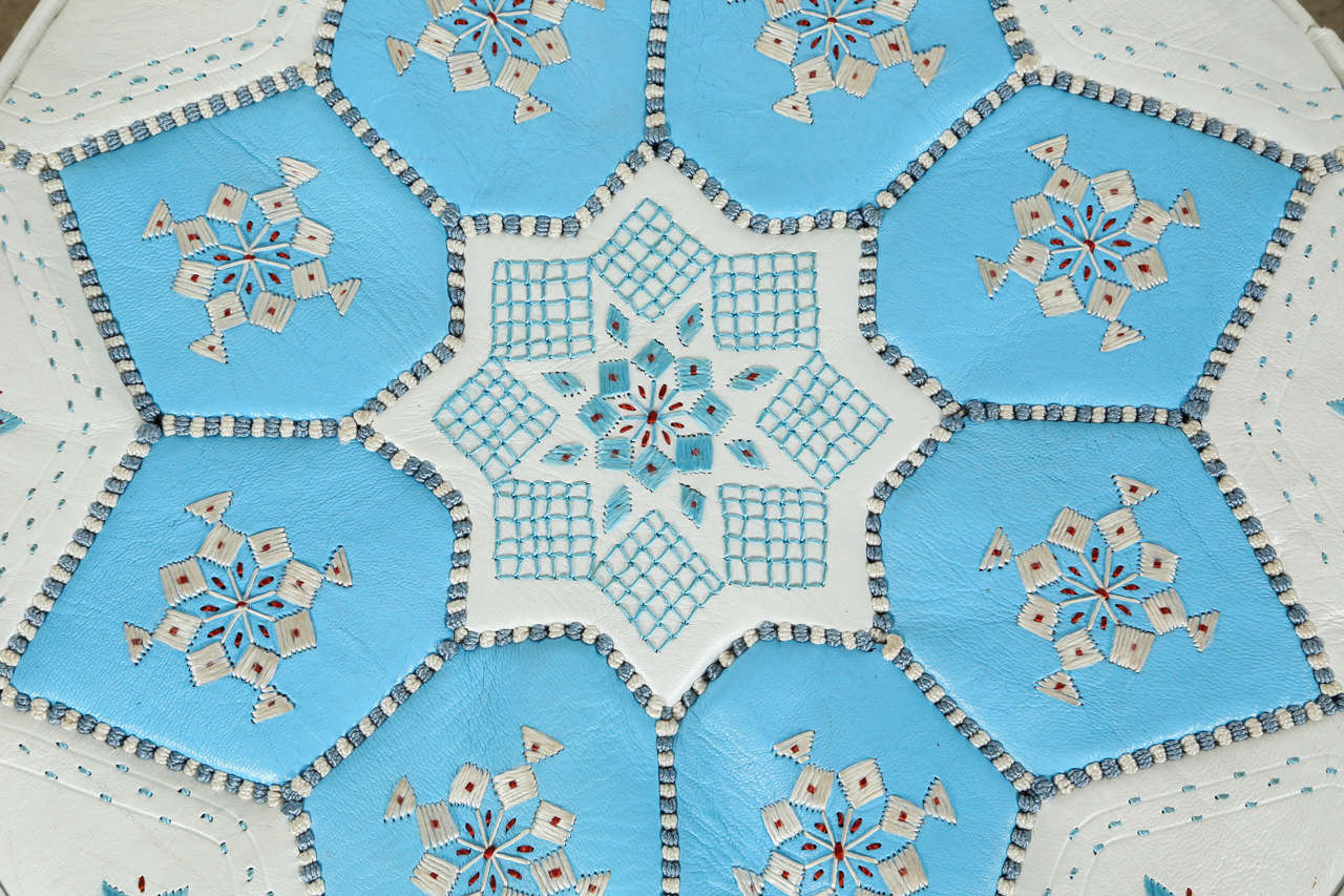 Moroccan Hand-Tooled Leather Poufs in Tiffany Blue and White  1