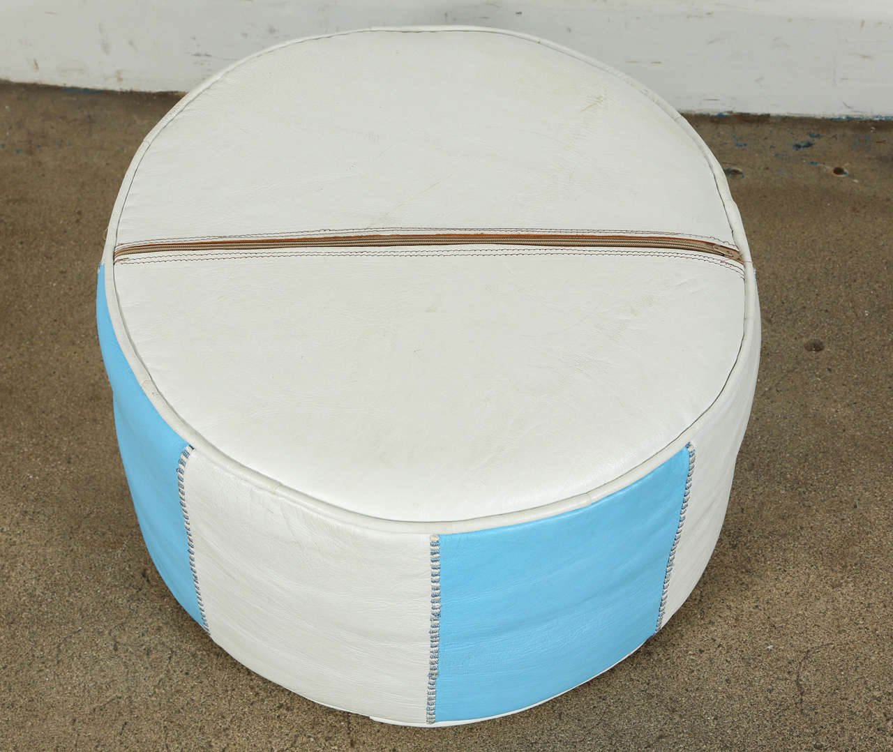 Moroccan Hand-Tooled Leather Poufs in Tiffany Blue and White  3