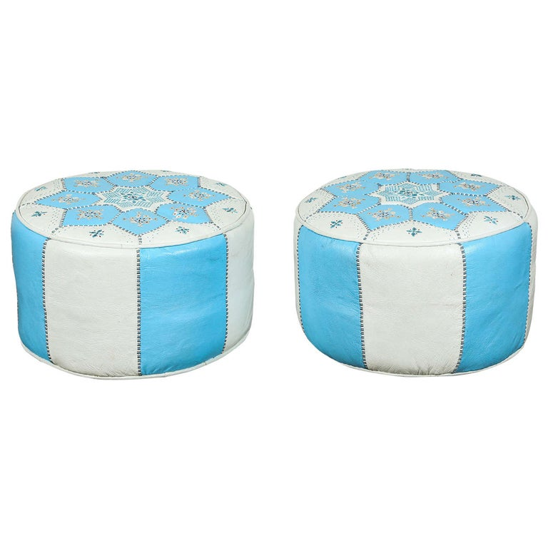 Moroccan Hand-Tooled Leather Poufs in Tiffany Blue and White