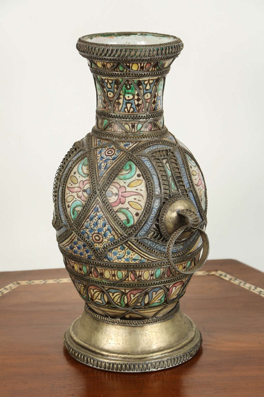 Antique moroccan ceramic vase from fez for sale at 1stdibs antique moroccan ceramic vase from fez moorish style handcrafted vase adorned with fine filigree silver reviewsmspy