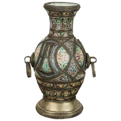 Antique Moroccan Ceramic Footed Vase from Fez with Silver Filigree