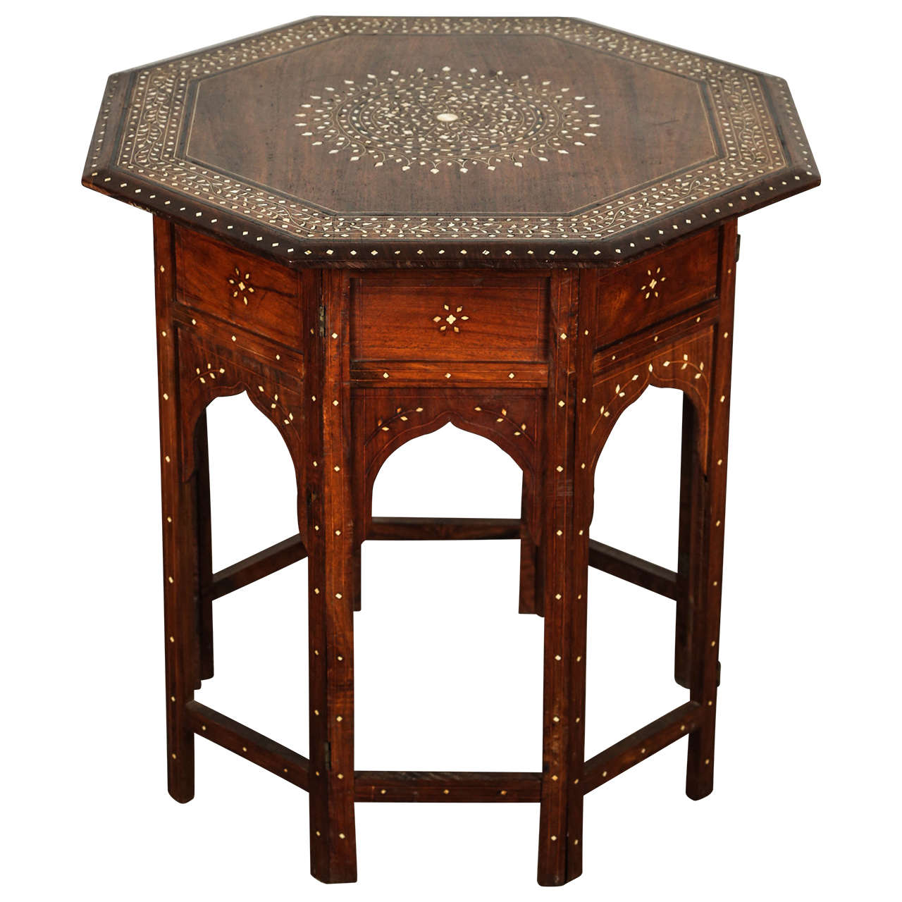 Anglo indian folding rosewood inlaid octagonal side table