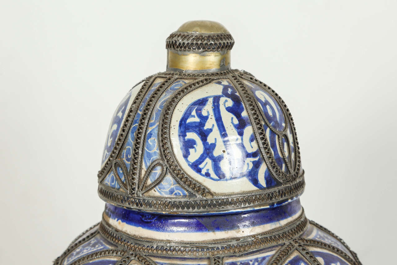 Moorish Antique Moroccan Blue and White Ceramic Vase from Fez For Sale
