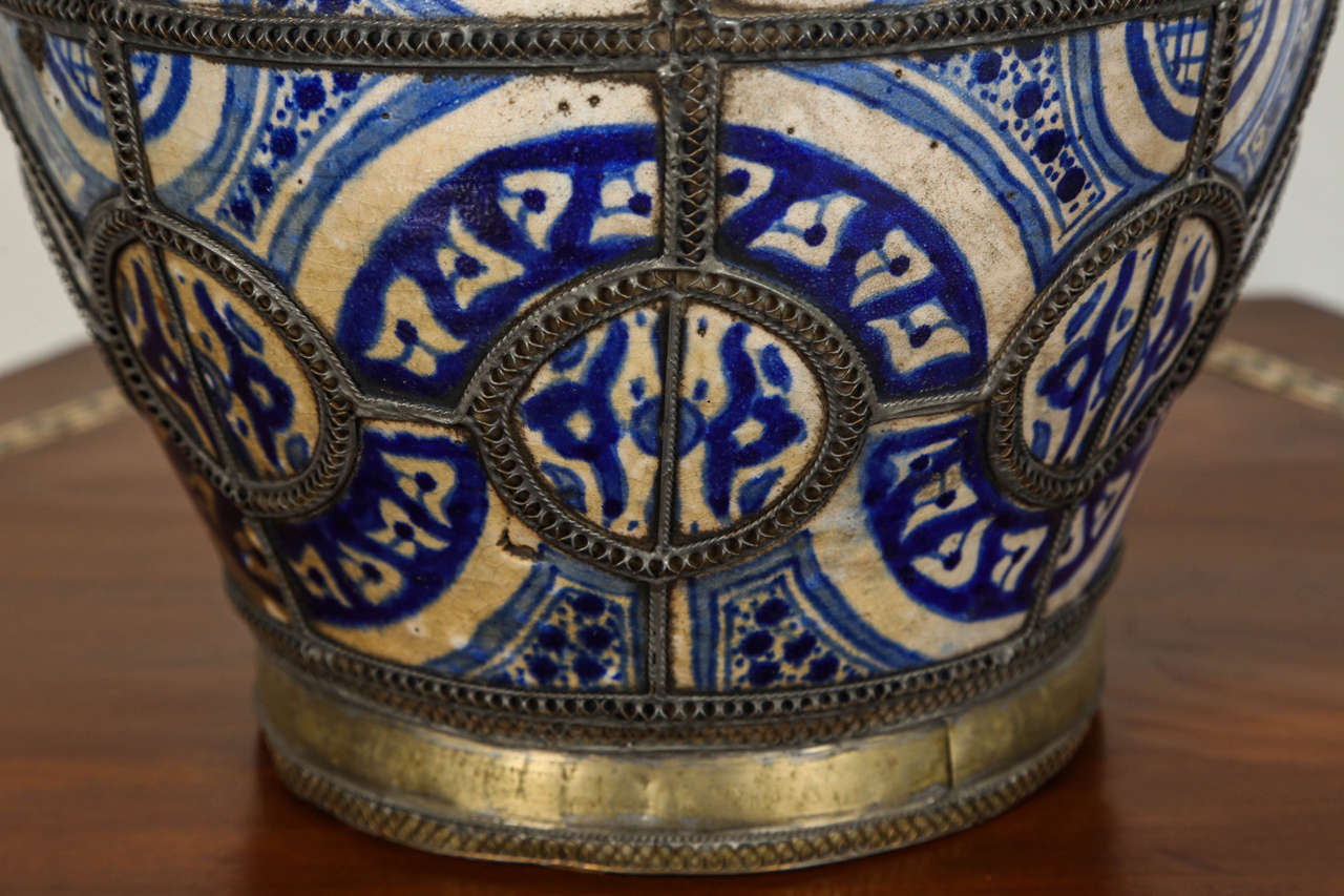 Antique Moroccan Blue and White Ceramic Vase from Fez In Fair Condition For Sale In Los Angeles, CA