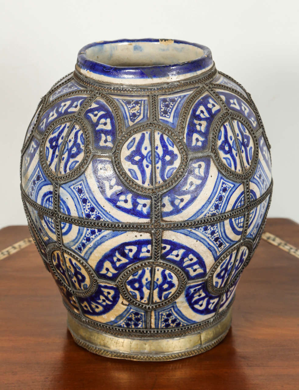 19th Century Antique Moroccan Blue and White Ceramic Vase from Fez For Sale