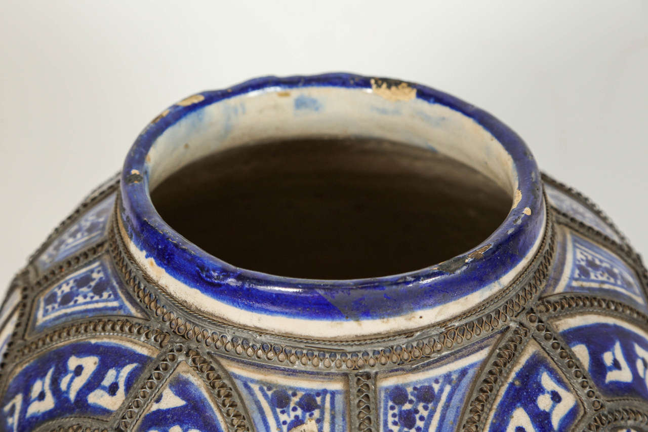 Antique Moroccan Blue and White Ceramic Vase from Fez For Sale 1