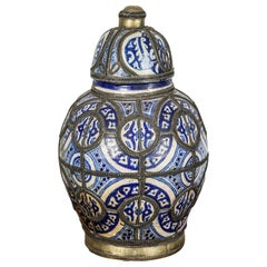 Moorish Moroccan Blue and White Ceramic Vase from Fez