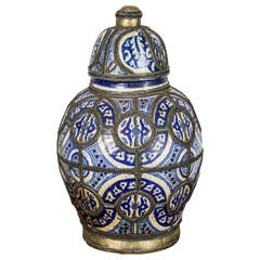 Antique Moroccan Blue and White Ceramic Vase from Fez
