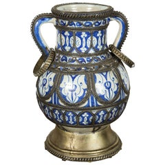 Moroccan Blue & White Ceramic Footed Vase from Fez with Silver Filigree