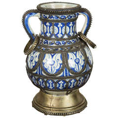 Antique Moroccan Blue & White Ceramic Footed Vase from Fez with Silver Filigree