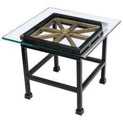 1920s Classical Modern Iron and Brass Table