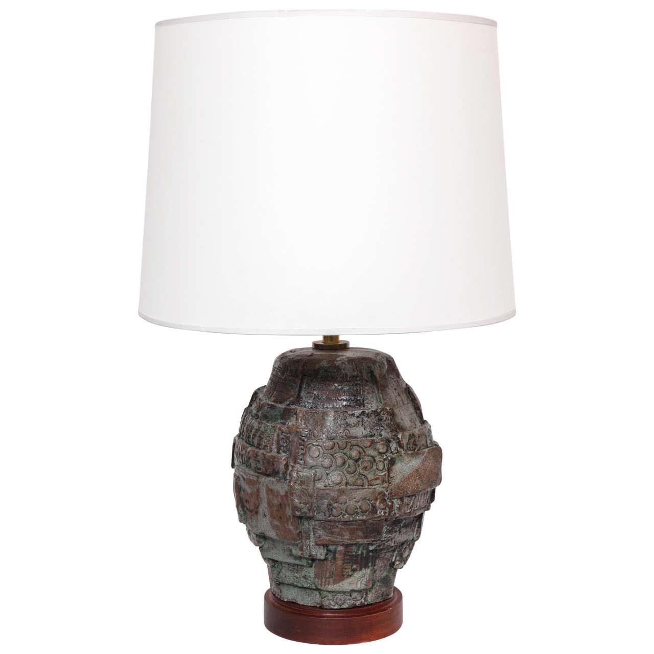 1960s Italian Brutalist Ceramic Table Lamp
