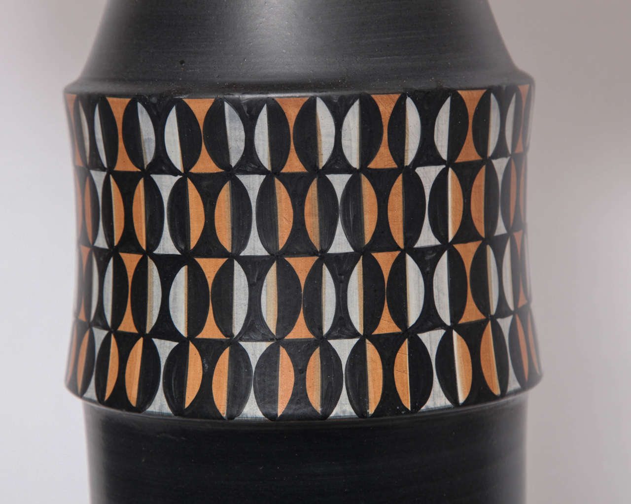 Hand-Painted Table Lamp Mid Century Modern Ceramic Italy 1950's For Sale