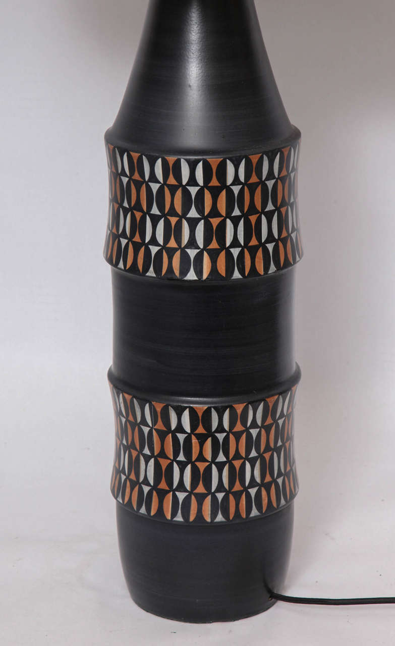 Table Lamp Mid Century Modern Ceramic Italy 1950's In Good Condition For Sale In New York, NY