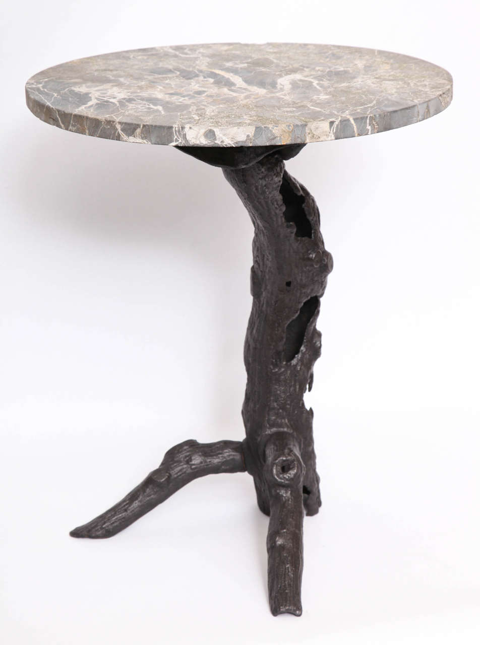 Cast 1920s Sculptural Patinated Iron and Marble Table For Sale