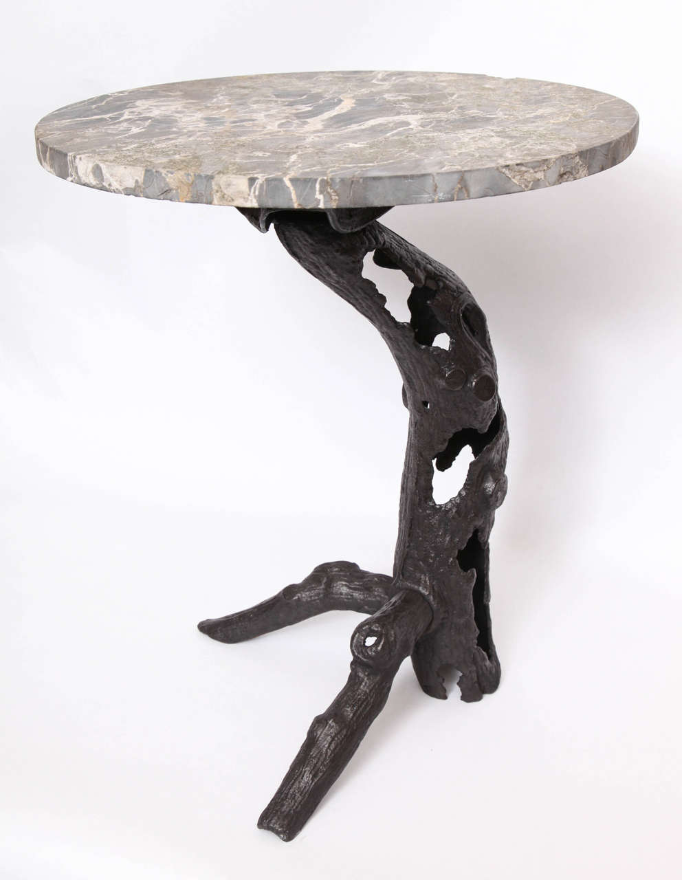 1920s Sculptural Patinated Iron and Marble Table In Excellent Condition For Sale In New York, NY