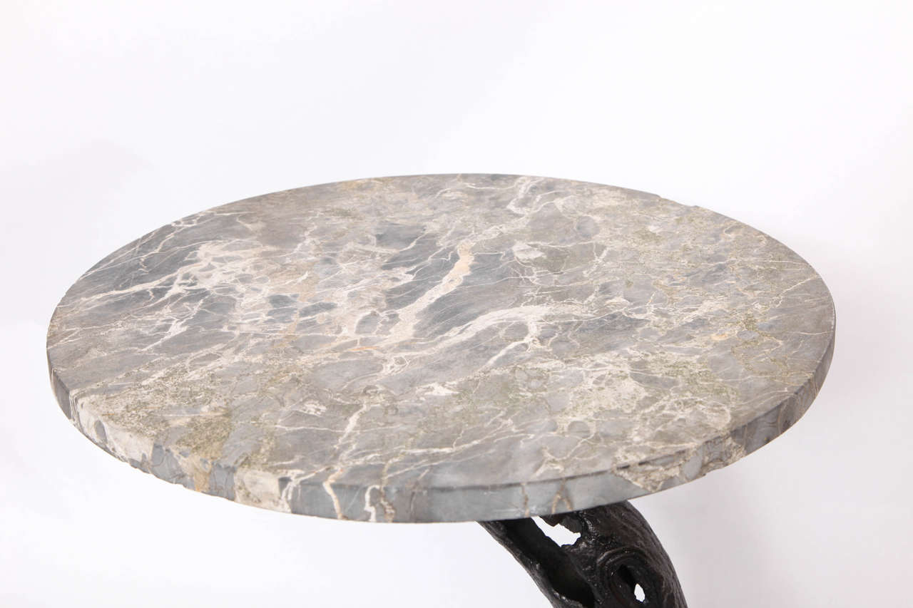 Early 20th Century 1920s Sculptural Patinated Iron and Marble Table For Sale