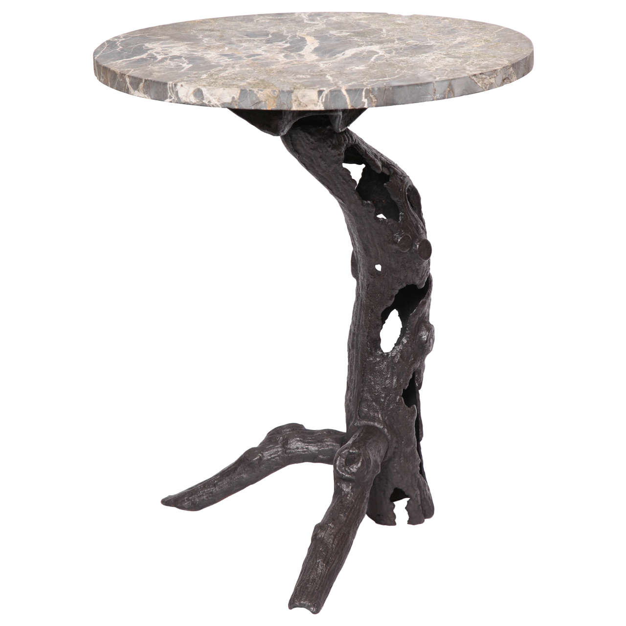1920s Sculptural Patinated Iron and Marble Table For Sale