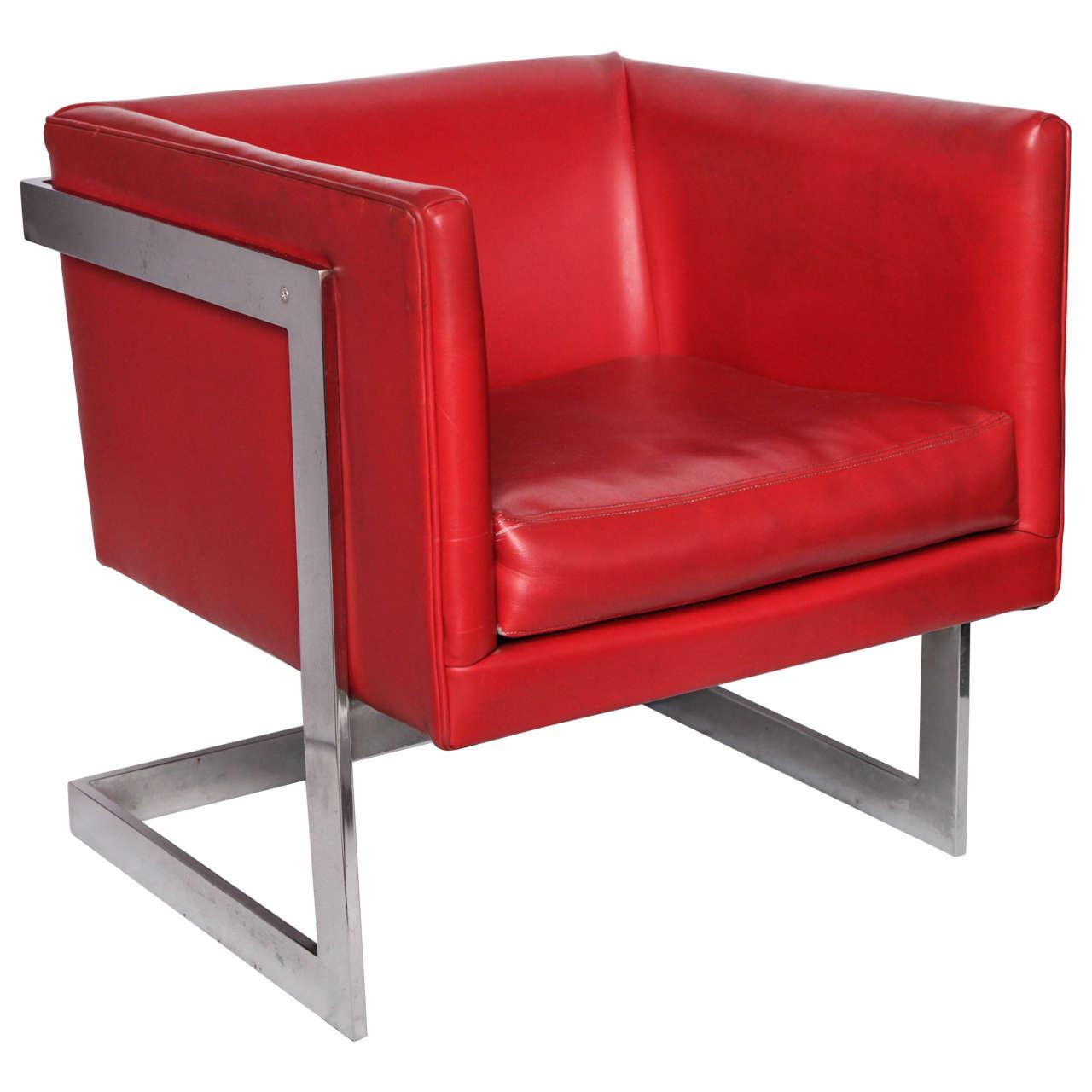 1970s Modernist Cube Chair by Milo Baughman