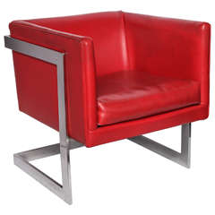 1970s Modernist Cube Chair by Milo Baughman