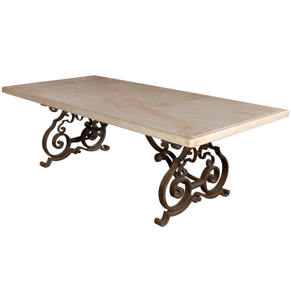 Late 19th C Mediterranean Marble Top Wrought Iron Dining