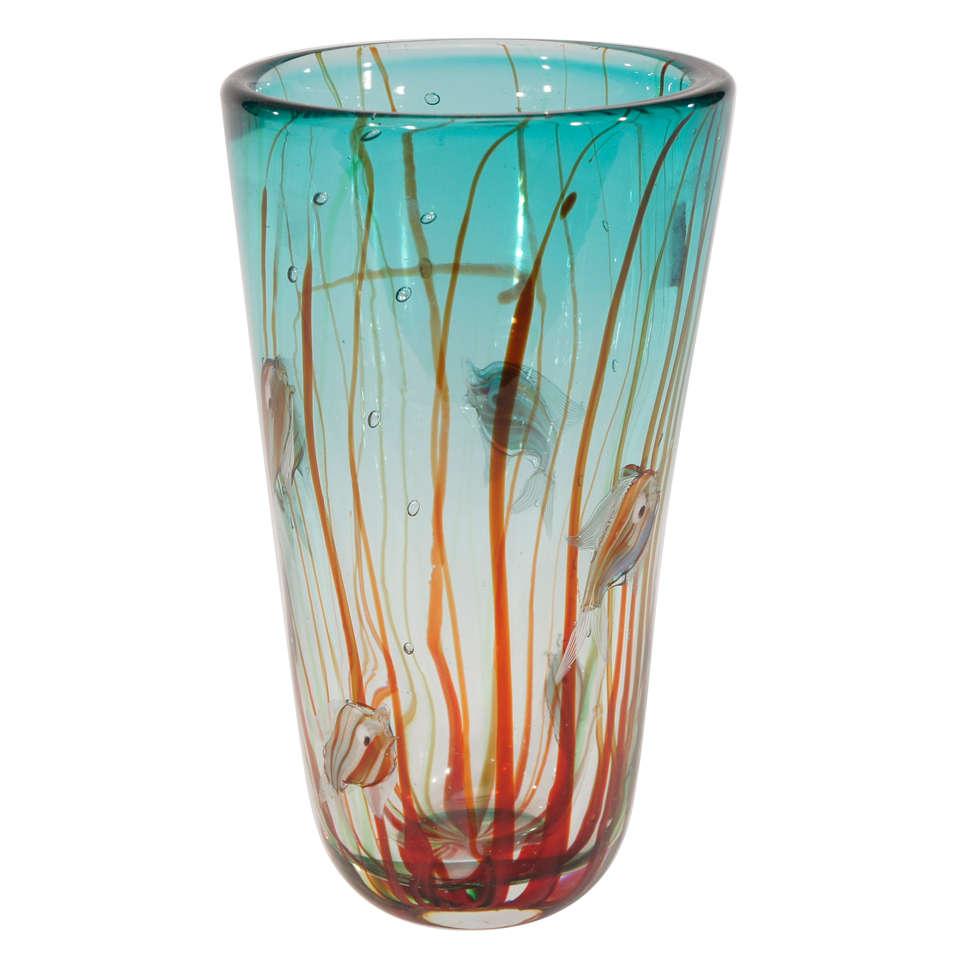 Alfredo Barbini Murano Hand Blown Aquarium Vase