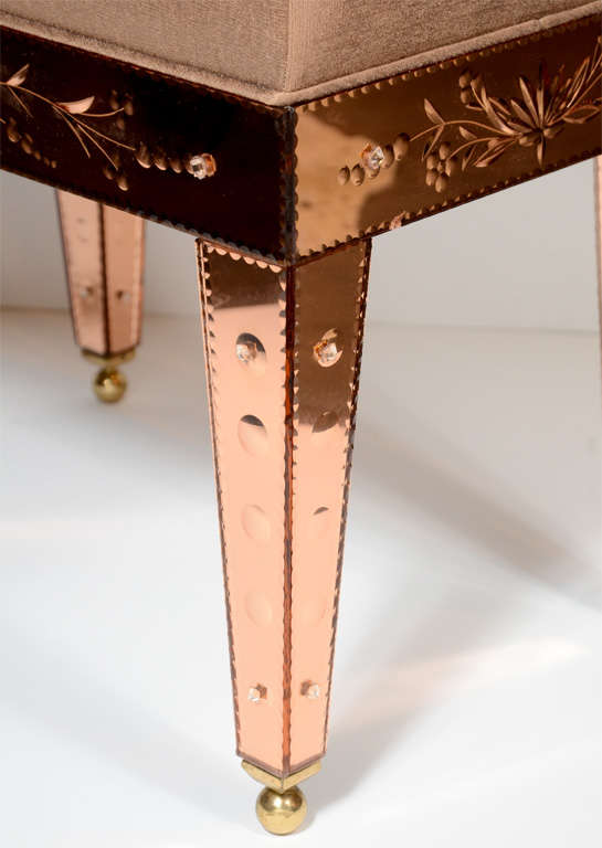 Venetian Style Copper Mirrored Bench At 1stdibs