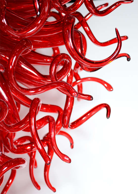 Medusa Fuoco Ruby Red Murano Glass Chandelier in the Style of Dale Chihuly In Excellent Condition For Sale In New York, NY