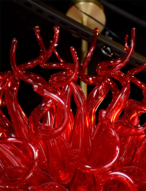 Brass Medusa Fuoco Ruby Red Murano Glass Chandelier in the Style of Dale Chihuly For Sale