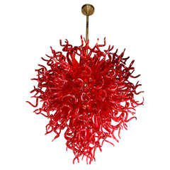 Medusa Fuoco Ruby Red Murano Glass Chandelier in the Style of Dale Chihuly
