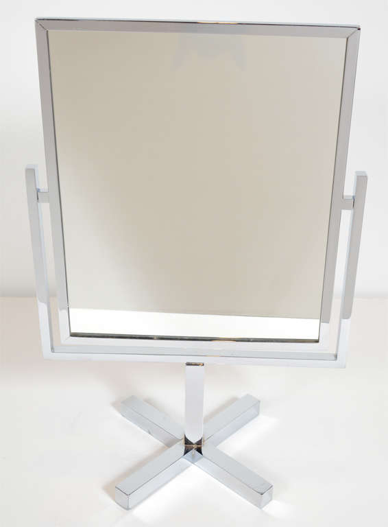 Modernist Chrome Vanity Mirror on a Pivoting Frame at 1stdibs