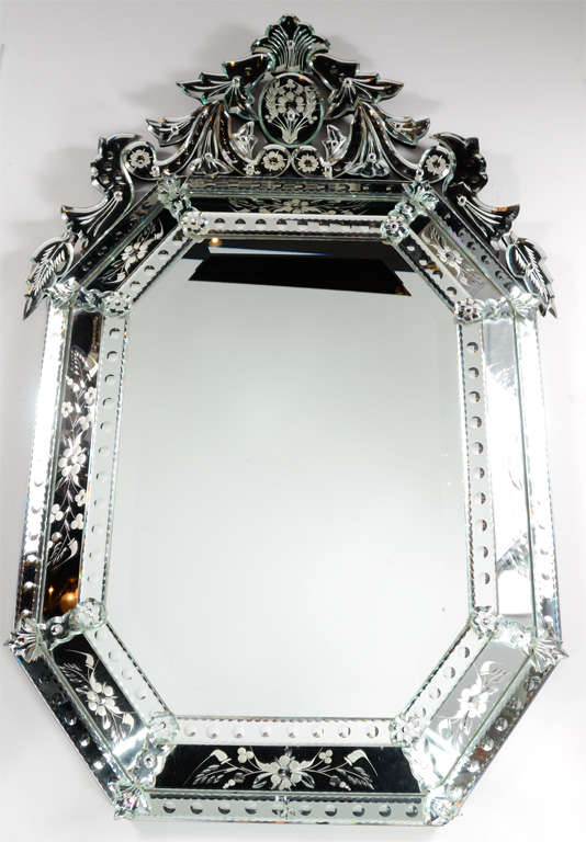 Outstanding Reverse Etched and Beveled Venetian Mirror 2