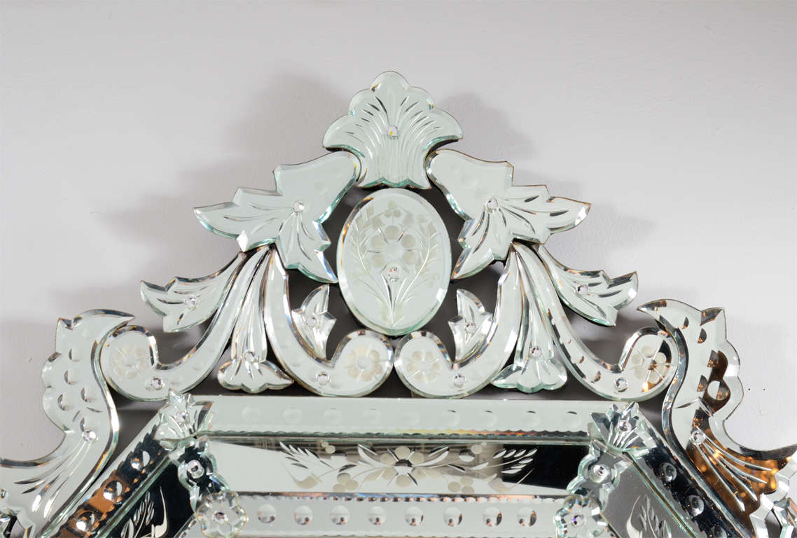 Outstanding Reverse Etched and Beveled Venetian Mirror 5