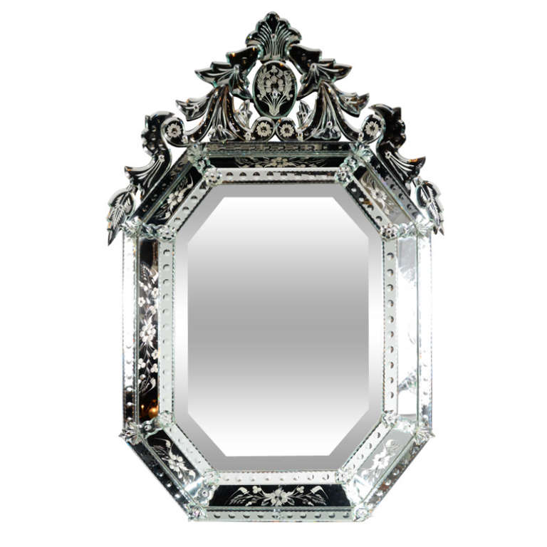 Outstanding Reverse Etched and Beveled Venetian Mirror 1