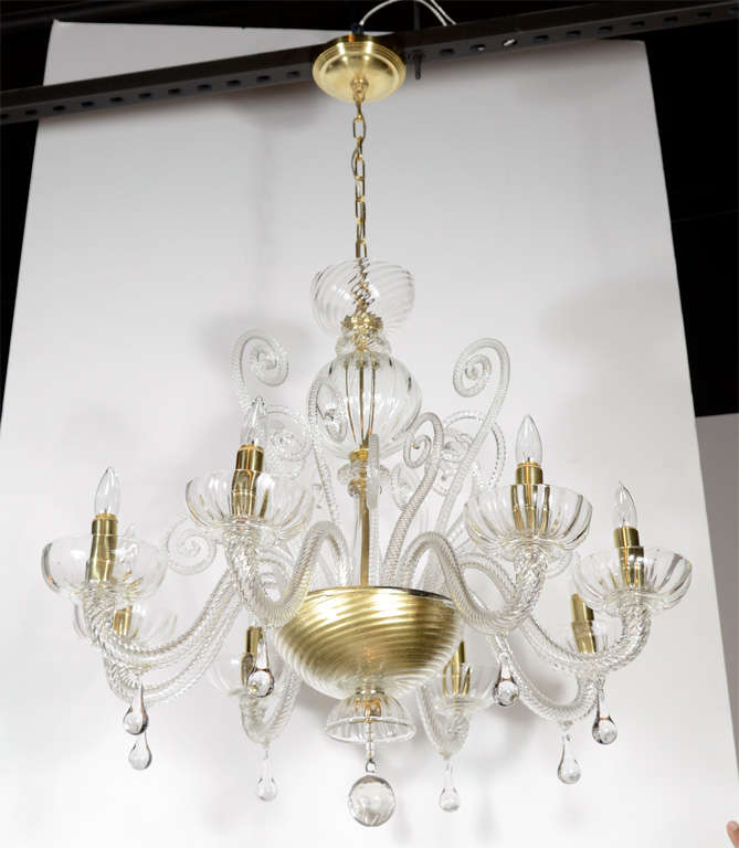 Superb 1920s  Murano Glass Eight Arm Chandelier with Gold Flecks 2