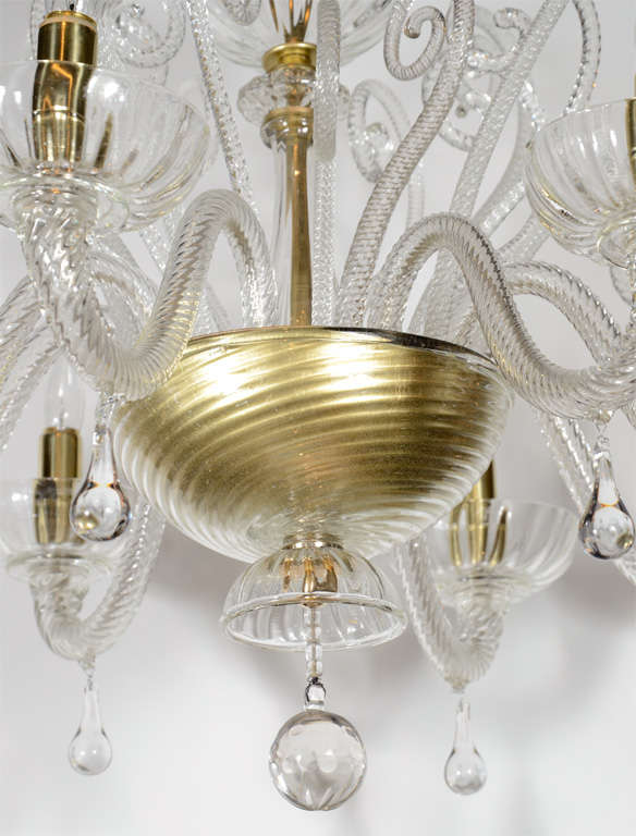 Superb 1920s  Murano Glass Eight Arm Chandelier with Gold Flecks 3