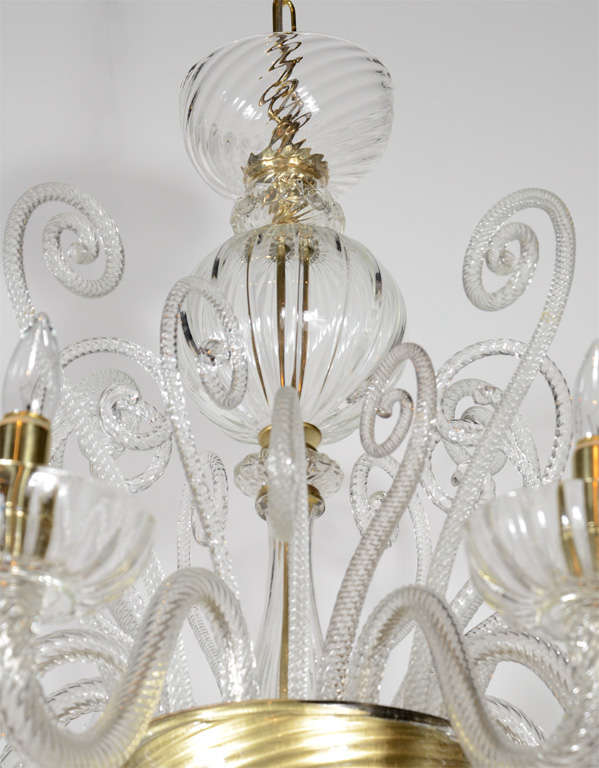 Superb 1920s  Murano Glass Eight Arm Chandelier with Gold Flecks 4